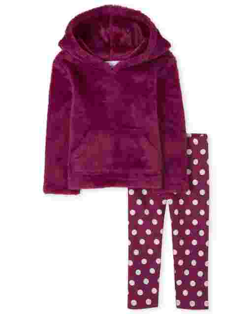 Toddler Girls Long Sleeve Faux Fur Hoodie And Knit Dot Leggings Outfit Set