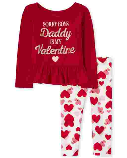 Toddler Girls Valentine's Day Long Sleeve 'Sorry Boys Daddy Is My Valentine' Ruffle Top And Heart Knit Leggings Outfit Set