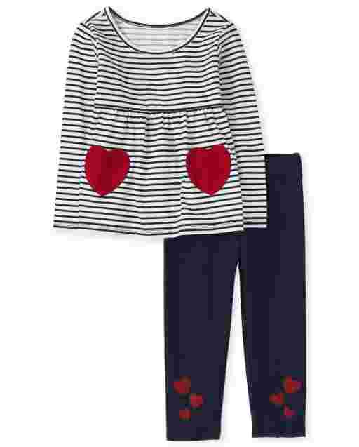 Toddler Girls Valentine's Day Long Sleeve Heart StripedTop And Knit Leggings Outfit Set