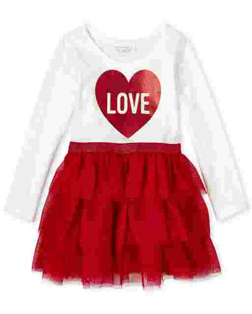 Baby And Toddler Girls Valentine's Day Long Sleeve 'Love' Heart Knit To Woven Tutu Dress