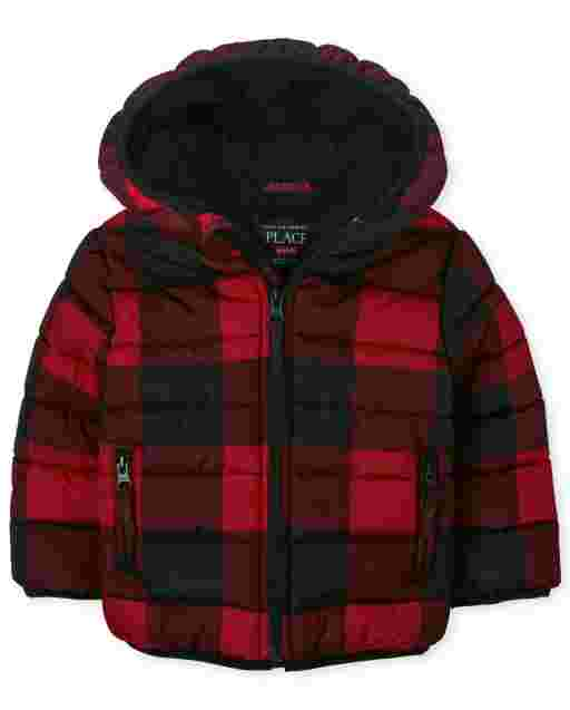 Toddler Boys Long Sleeve Buffalo Plaid Hooded Puffer Jacket