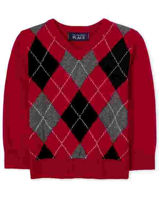 Toddler Boys Long Sleeve Argyle V Neck Sweater