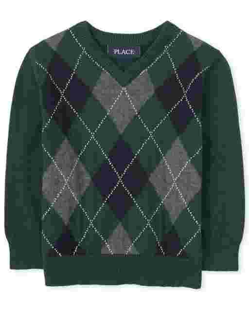 Suéter de manga larga con cuello en V de rombos para niños pequeños