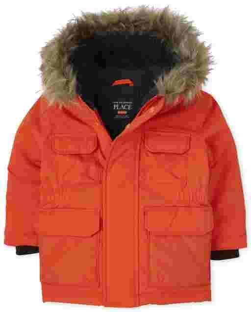 Parka con capucha y forro de sherpa de manga larga para niños pequeños