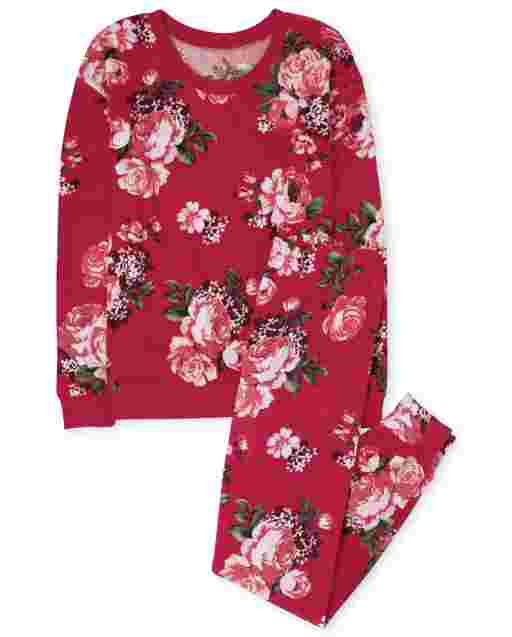 Womens Mommy And Me Long Sleeve Floral Print Velour Matching Pajamas