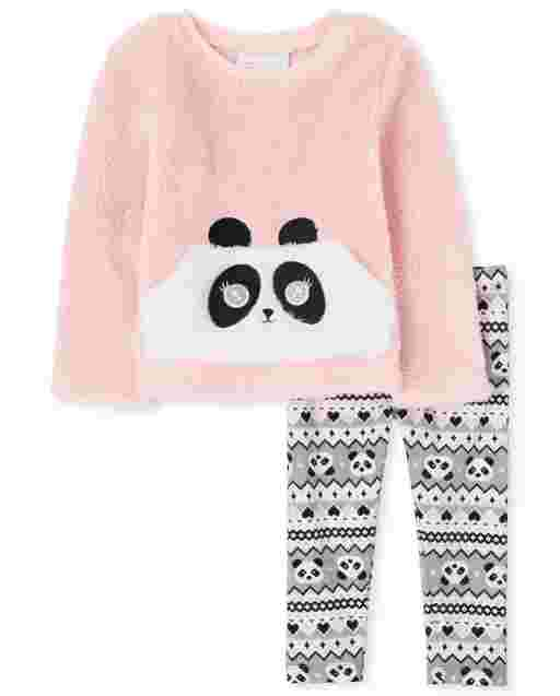 Toddler Girls Long Sleeve Panda Sherpa Sweater And Panda Fairisle Knit Leggings Outfit Set