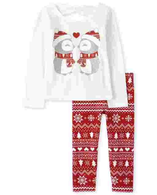 Toddler Girls Long Sleeve Penguin Bow Back Top And Fairisle Knit Leggings Outfit Set