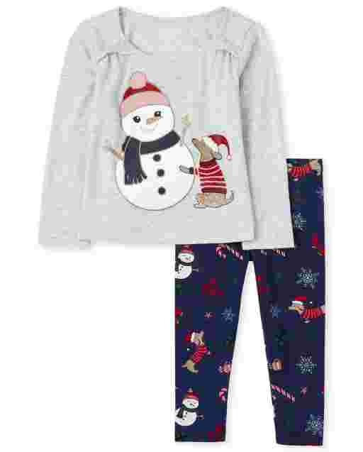 Toddler Girls Long Sleeve Snowman And Dog Bow Top And Print Knit Leggings Outfit Set