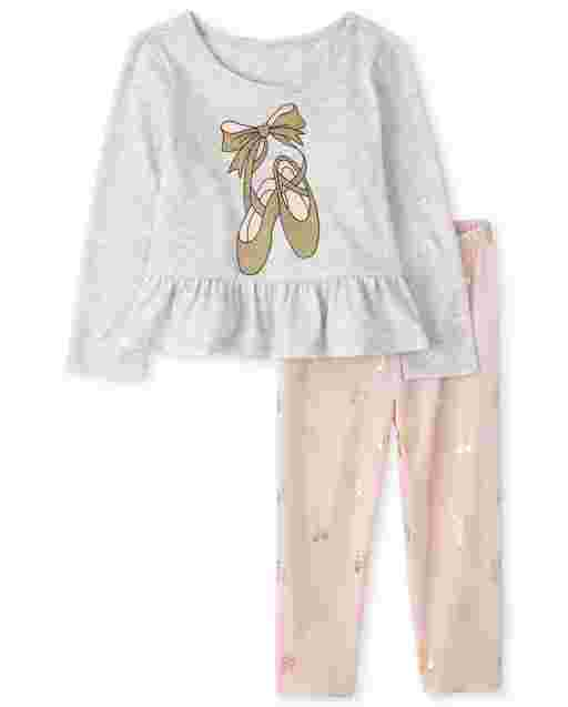Toddler Girls Long Sleeve Peplum Ballet Slippers Top And Velour Pants Outfit Set