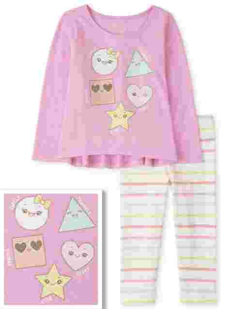 Toddler Girls Long Sleeve Shapes Top And Rainbow Striped Knit Leggings Outfit Set