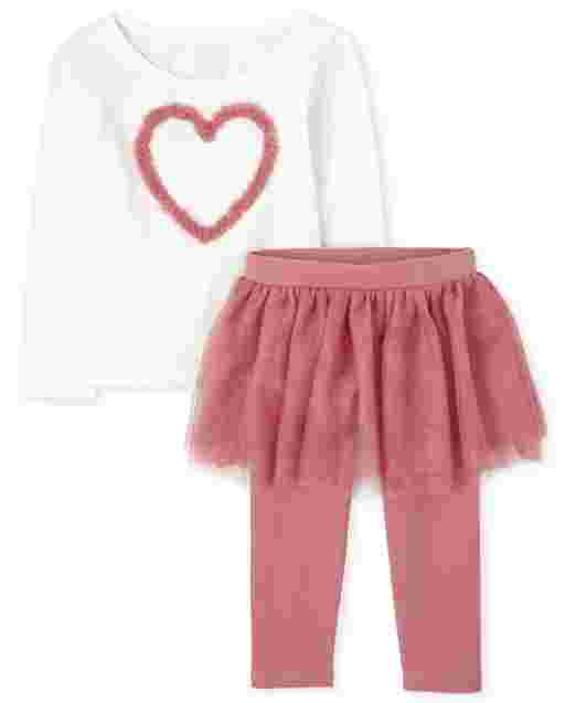 Toddler Girls Long Sleeve Heart And Knit Tutu Leggings Outfit Set