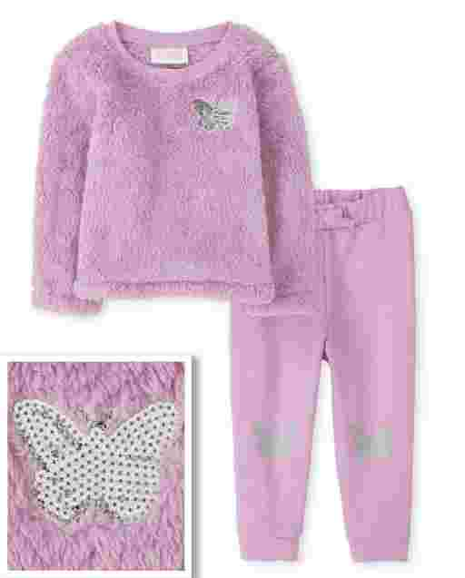 Toddler Girls Long Sleeve Butterfly Sherpa Sweater And French Terry Jogger Pants Outfit Set