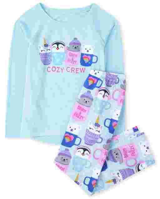Girls Long Sleeve 'Cozy Crew' Pajamas
