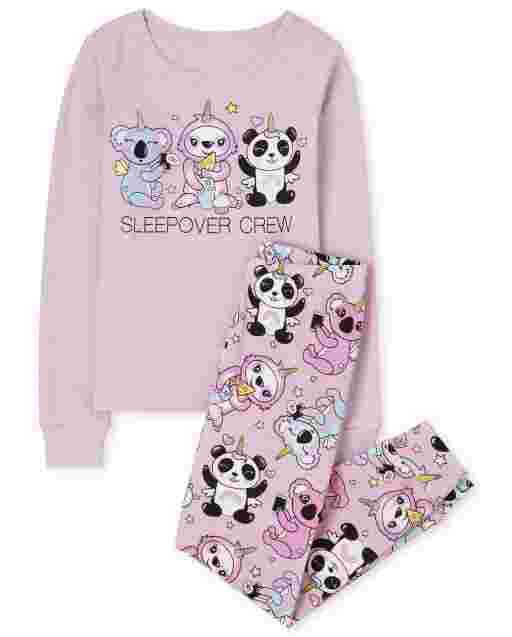 Girls Long Sleeve 'Sleepover Crew' Koalacorn Slothicorn Pandacorn Snug Fit Cotton Pajamas