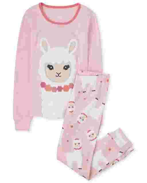 Girls Long Sleeve Llama Snug Fit Cotton Pajamas