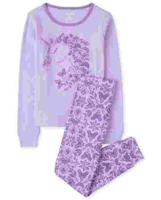 Girls Long Sleeve Butterfly Unicorn Snug Fit Cotton Pajamas