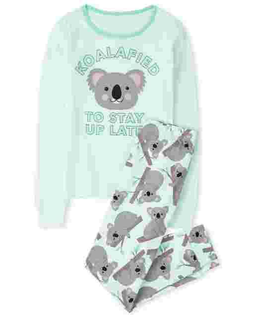 Girls Long Sleeve 'Koalafied To Stay Up Late' Snug Fit Cotton Pajamas