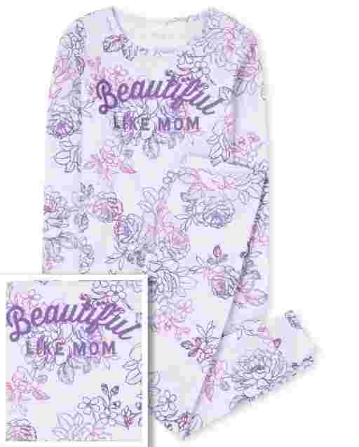 Girls Mommy And Me Long Sleeve 'Beautiful Like Mom' Floral Print Matching Snug Fit Cotton Pajamas