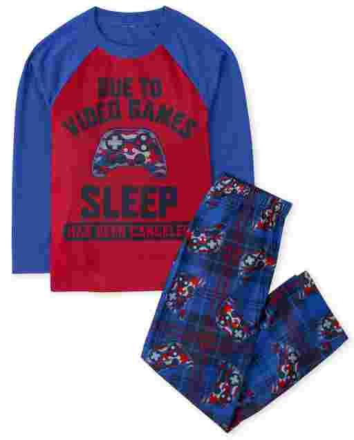 Boys Long Raglan Sleeve 'Due To Video Games Sleep Has Been Canceled' Pajamas