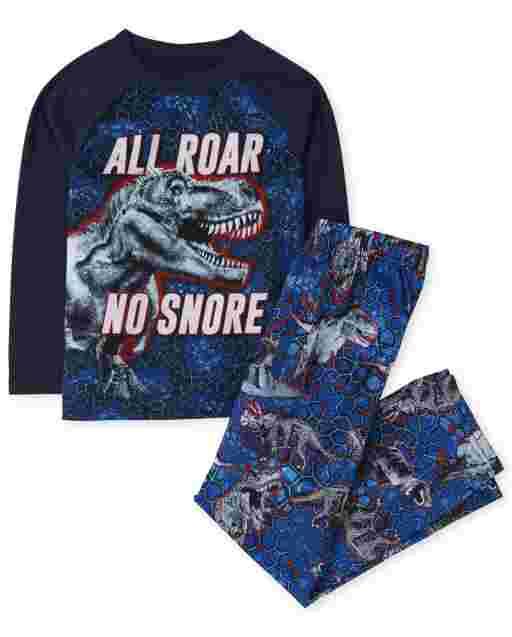 Boys Long Sleeve 'All Roar No Snore' Dino Pajamas