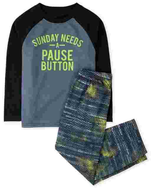 Boys Long Sleeve 'Sunday Needs A Pause Button' Pajamas