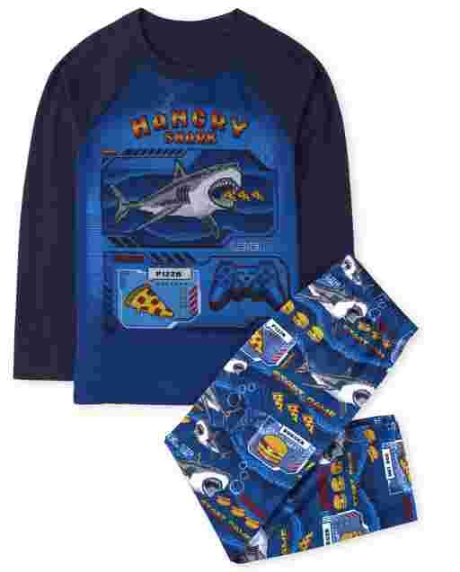 Boys Long Sleeve 'Hangry Shark' Pajamas