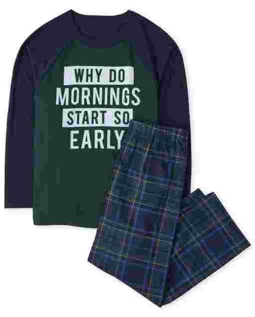 Manga larga para niños ' ¿Por qué las mañanas comienzan tan temprano? ' Pijama de cuadros