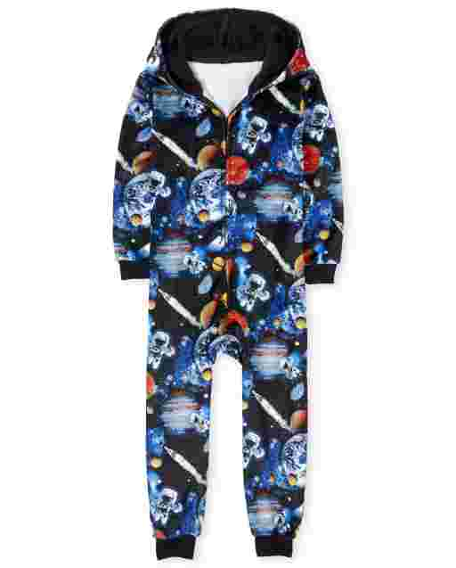 Boys Long Sleeve Space Print Fleece Hooded One Piece Pajamas