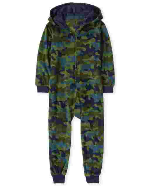 Boys Long Sleeve Camo Fleece Hooded One Piece Pajamas