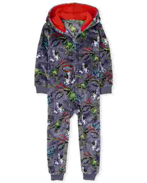 Boys Long Sleeve Dino Print Fleece Hooded One Piece Pajamas