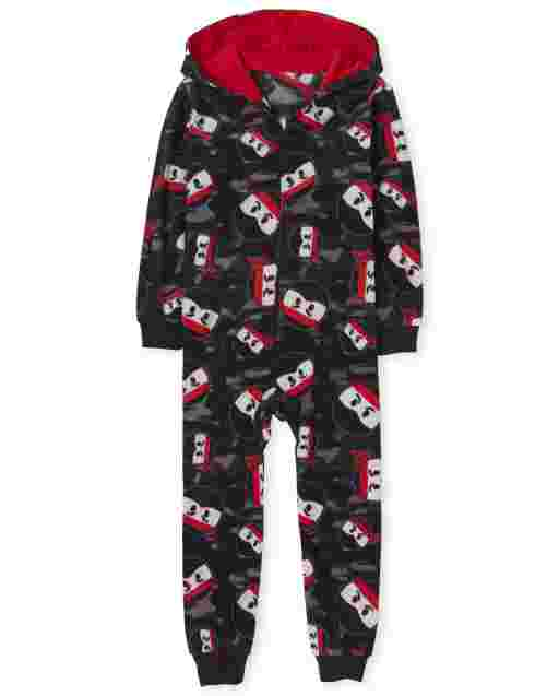 Boys Long Sleeve Ninja Fleece Hooded One Piece Pajamas