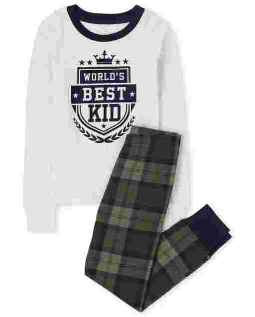 Boys Long Sleeve 'Best Kid' Plaid Snug Fit Cotton Pajamas