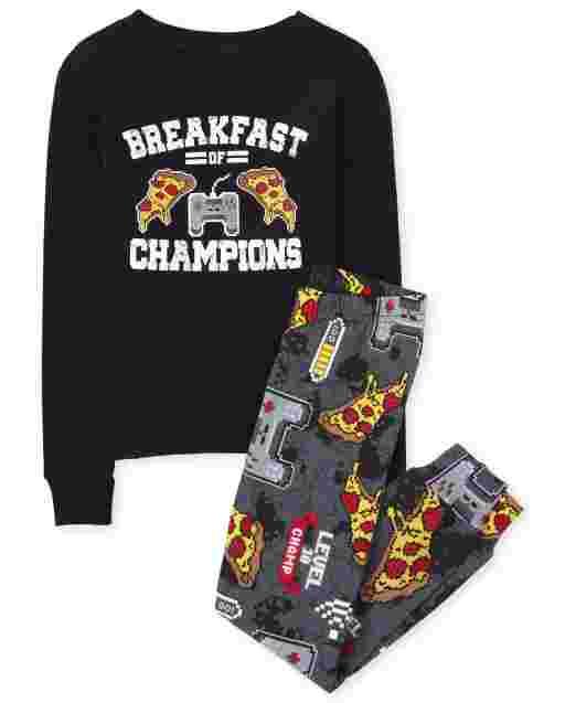 Pijama de algodón con ajuste ceñido para niños ' Breakfast Of Champions ' Videojuego