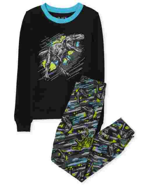 Pijama de algodón con estampado de dinosaurio de manga larga para niños