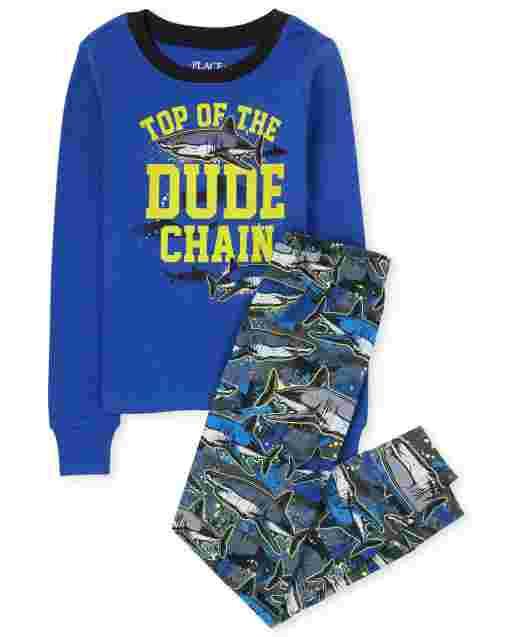 Manga larga para niños ' Top Of The Dude Chain ' Pijama de algodón con ajuste ceñido de tiburón