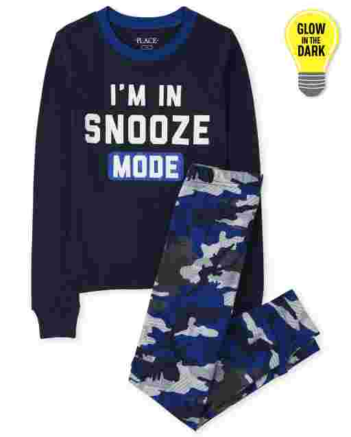 Boys Long Sleeve Glow In The Dark 'I'm In Snooze Mode' Snug Fit Cotton Pajamas