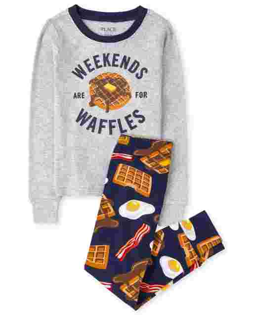 Boys Long Sleeve 'Weekends Waffles' Breakfast Snug Fit Cotton Pajamas