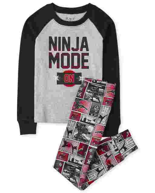 Boys Long Sleeve 'Ninja Mode' Snug Fit Cotton Pajamas
