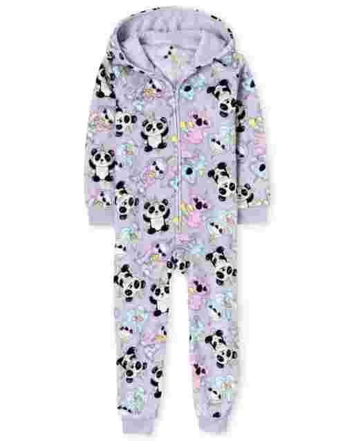 Girls Long Sleeve Squishies Print Fleece Hooded One Piece Pajamas