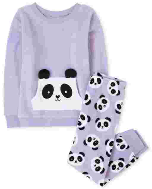 Girls Long Sleeve Panda Fleece Hoodie Pajamas