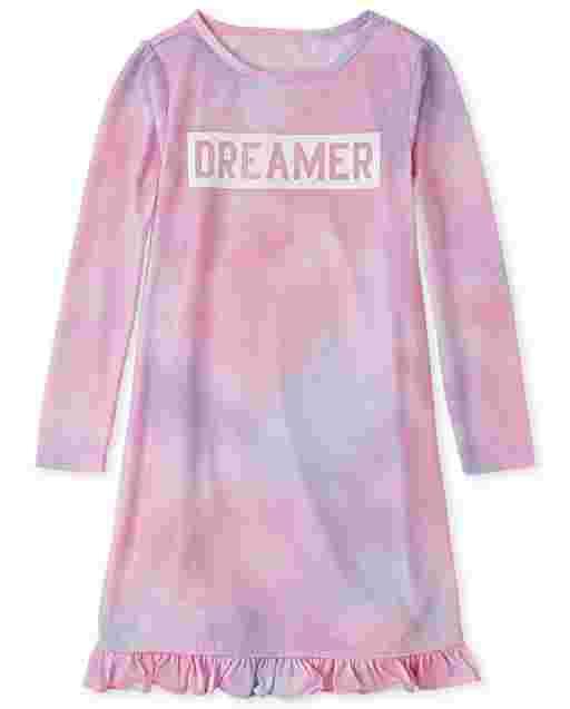Girls Long Sleeve Tie Dye 'Dreamer' Nightgown