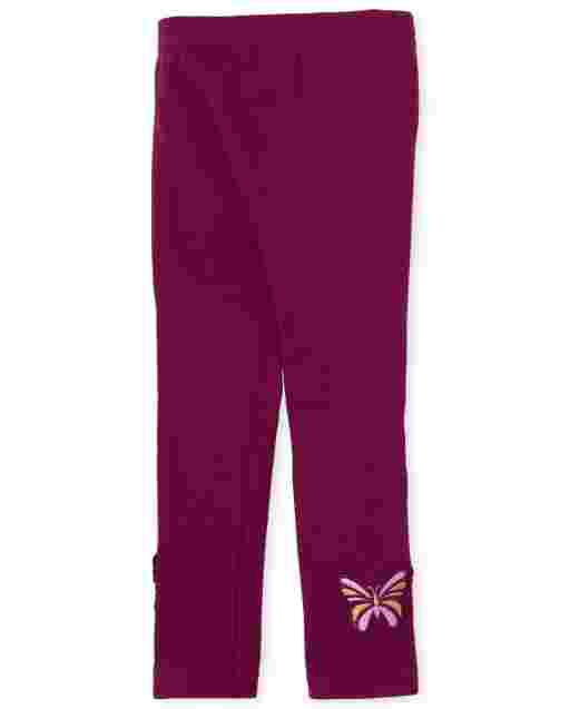 Toddler Girls Butterfly Fleece Lined Knit Leggings