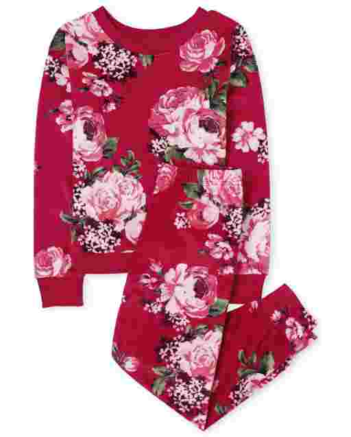 Girls Mommy And Me Long Sleeve Floral Print Velour Matching Pajamas