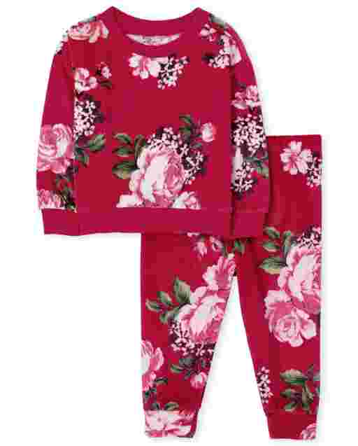 Baby And Toddler Girls Mommy And Me Long Sleeve Floral Velour Matching Pajamas