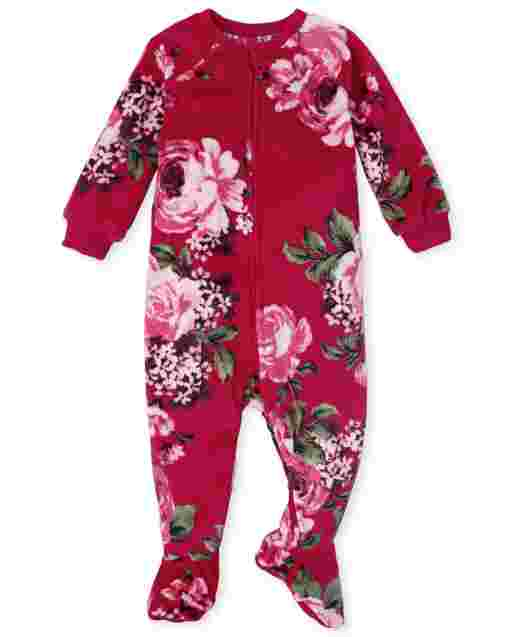 Baby And Toddler Girls Mommy And Me Long Sleeve Floral Velour Matching Footed One Piece Pajamas