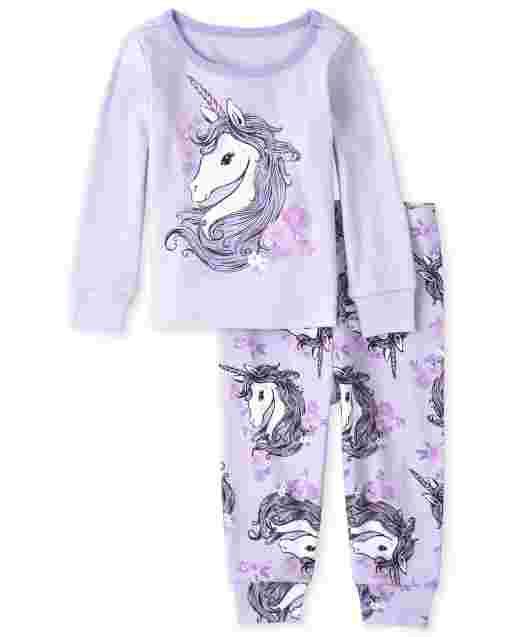 Pijamas de algodón ajustados con unicornio para bebés y niñas pequeñas