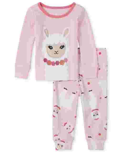 Baby And Toddler Girls Long Sleeve Llama Snug Fit Cotton Pajamas