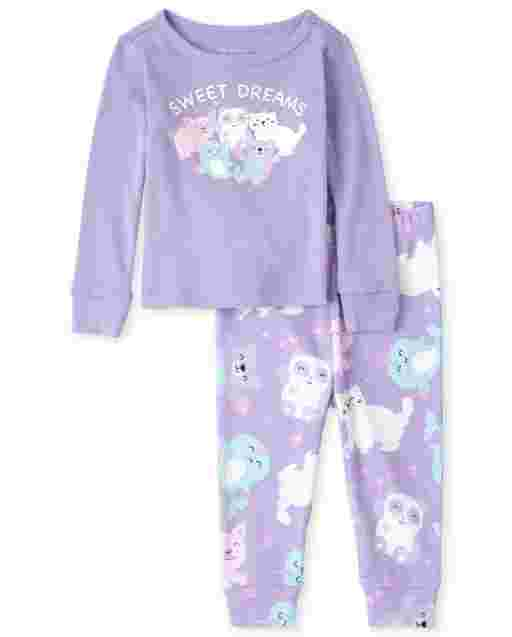 Baby And Toddler Girls Long Sleeve Glow In The Dark 'Sweet Dreams' Animals Snug Fit Cotton Pajamas