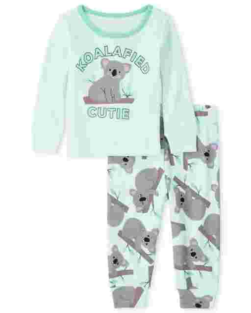 Baby And Toddler Girls Long Sleeve 'Koalafied To Stay Up Late' Koala Snug Fit Cotton Pajamas