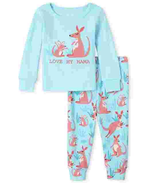 Pijama de algodón con ajuste ceñido canguro para bebés y niñas pequeñas